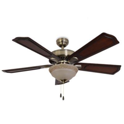 52-Inch Sheffield Bowl Light Aged Brass Ceiling Fan