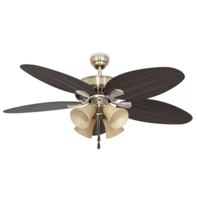 52-Inch Coconut Grove 4-Light Aged Brass Ceiling Fan
