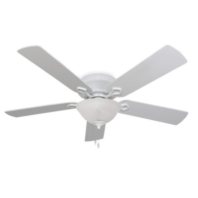 52-Inch Hampshire Bowl Light Low Profile White Ceiling Fan
