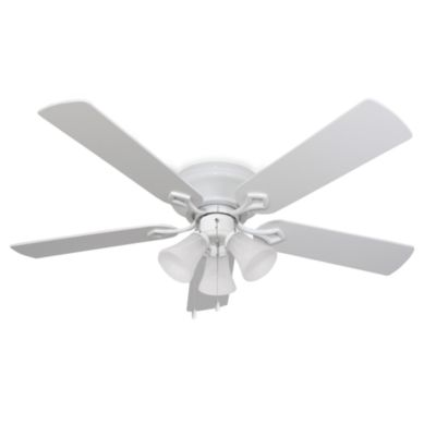 52-Inch Hampshire 3-Light Low Profile White Ceiling Fan