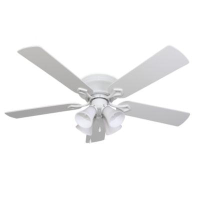 52-Inch Hampshire 4-Light Low Profile White Fan