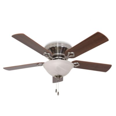 52-Inch Hampshire Bowl Light Low Profile Brushed Nickel Ceiling Fan