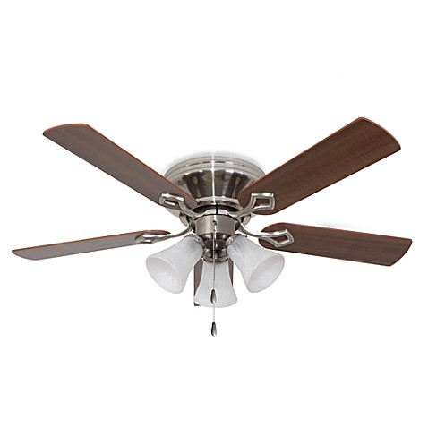 52-Inch Hampshire 3-Light Low Profile Brushed Nickel Fan