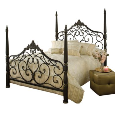 Hillsdale Parkwood Queen Bed Set with Rails in Black/Gold