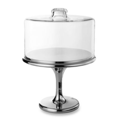 Maison Glassworks Clear Dome Cake Plate with Chrome Base