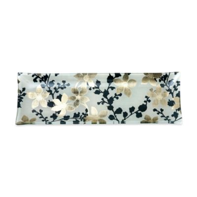 Midnight Garden Foiled Glass 18-Inch x 6-Inch Serving Tray