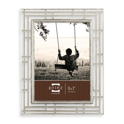 Prinz Wright 5-Inch x 7-Inch Metal Frame in Antique Silver