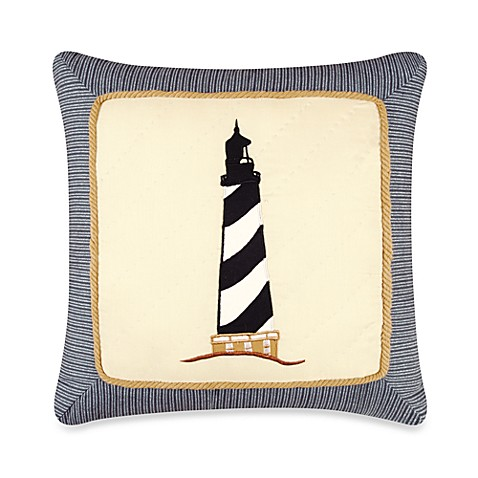 Atlantic Isle Lighthouse Appliqué Square Pillow
