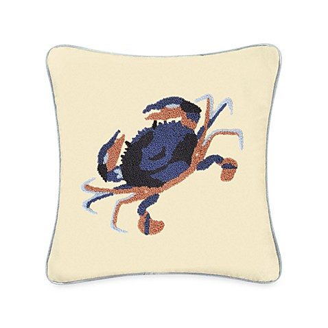 Atlantic Isle Blue Crab Hooked Throw Pillow