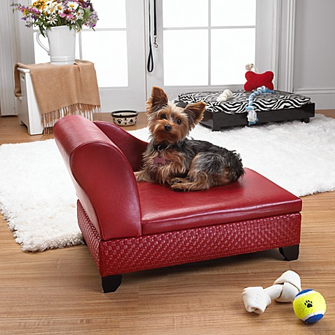 Pet Chaise with Hidden Storage in Red Basketweave