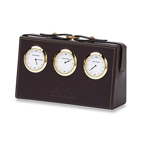 Wedgwood® Equestria Leather World Desk Clock