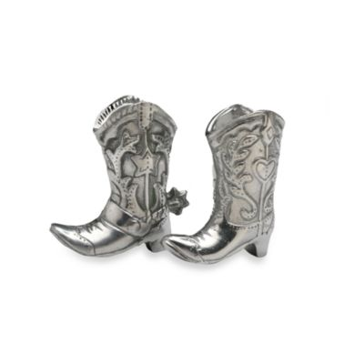Arthur Court Designs Cowboy Boot Salt & Pepper Shakers