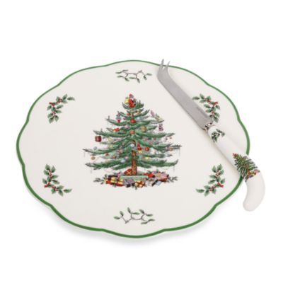 Spode® Christmas Tree 9-Inch Cheese Plate with Knife