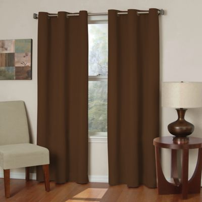 Insola Mandalay Microfiber 63-Inch Grommet Blackout Window Curtain Panel in Chocolate