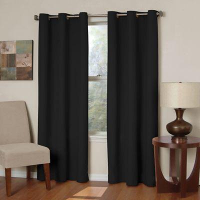 Insola Mandalay Microfiber 63-Inch Grommet Blackout Window Curtain Panel in Black