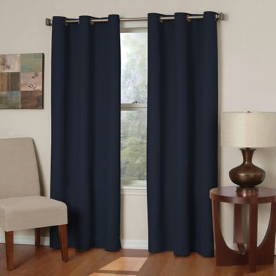 Insola Mandalay Microfiber 84-Inch Grommet Blackout Window Curtain Panel in Navy