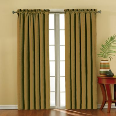 Insola Siena Suede 63-Inch Rod Pocket Blackout Window Curtain Panel in Gold