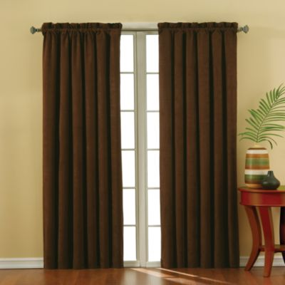 Insola Siena Suede 84-Inch Rod Pocket Blackout Window Curtain Panel in Black