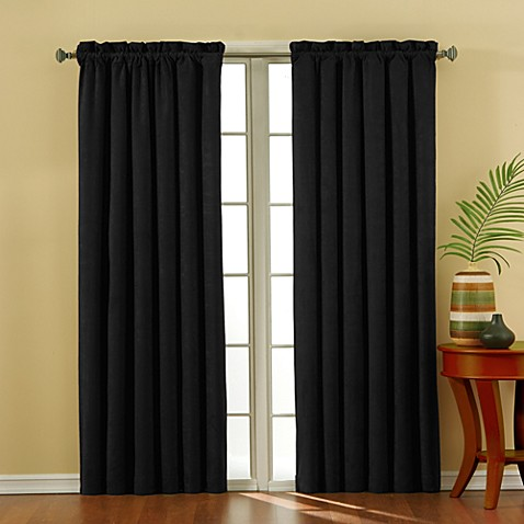 Insola Siena Suede 63-Inch Rod Pocket Blackout Window Curtain Panel in Black
