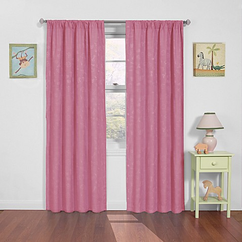 Insola Zoo Animals 84-Inch Rod Pocket Blackout Window Curtain Panel in Pale Pink
