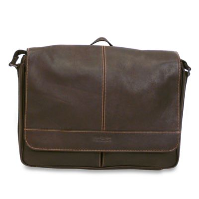 Kenneth Cole Reaction Dark Brown Risky Business Leather Flap-Over Messenger Bag