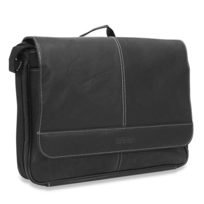 Kenneth Cole Reaction® Black Risky Business Leather Flap-Over Messenger Bag