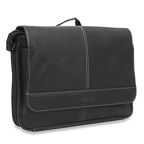 Kenneth Cole Reaction Black Risky Business Leather Flap-Over Messenger Bag