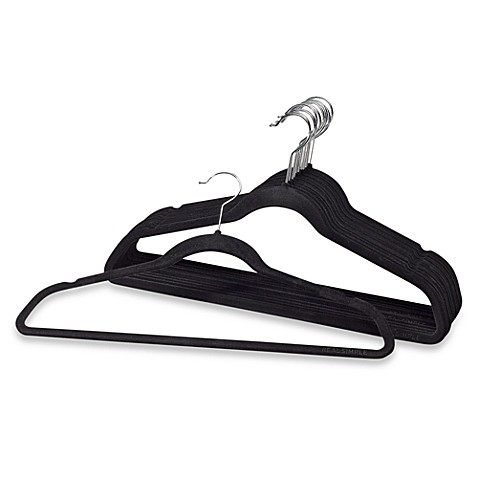 Real Simple®  Heavyweight Slimline Hangers in Black (Set of 12)