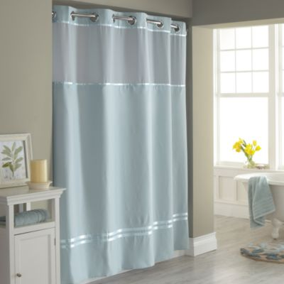54 x 80 Hookless White Fabric Shower Curtain
