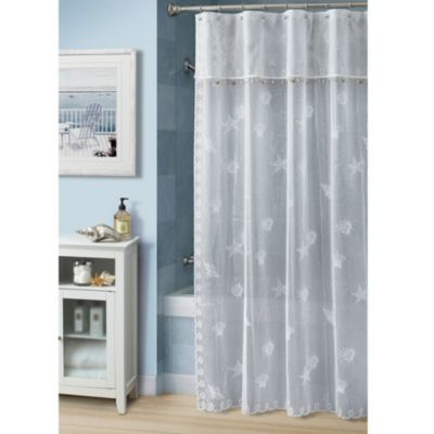 Bayhead Lace 70-Inch W x 72-Inch L Fabric Shower Curtain by Croscill