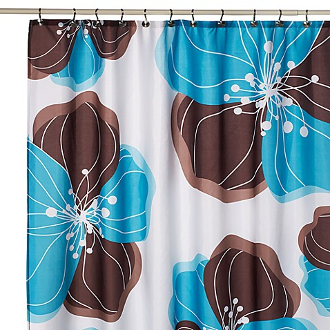 Viva Brown And Teal Fabric Shower Curtain