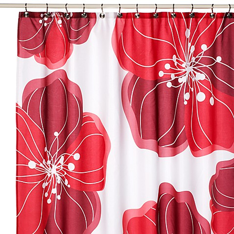 Viva Red Floral Fabric Shower Curtain Bed Bath Beyond