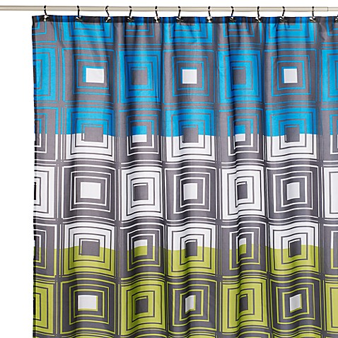 Geo Time Fabric Shower Curtain