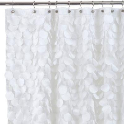 Gigi White Fabric Shower Curtain