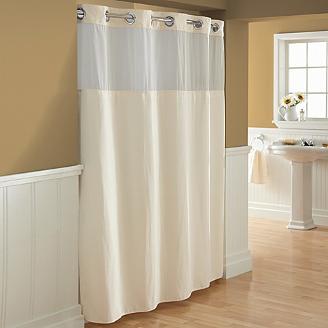 Hookless® Waffle Fabric Shower Curtain and Liner Set in Cream