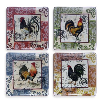 Certified International Lille Rooster 10 -Inch Square Dinner Plates in (Set of 4)