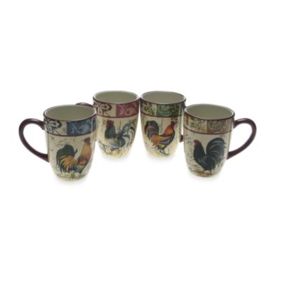 Certified International Lille Rooster 20-Ounce Mugs in (Set of 4)