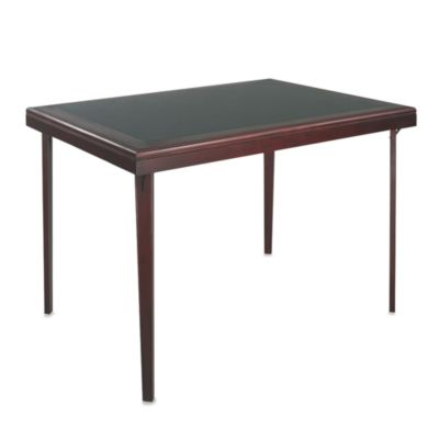 Cosco Rectangular Wood Folding Table with Vinyl Inset