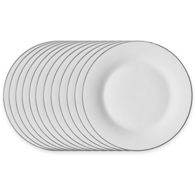 Studio Platinum Porcelain Banded 10-1/2-Inch Dinner Plates (Set of 12)