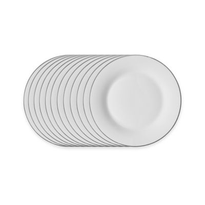 Studio Platinum Porcelain Banded 7-1/2-Inch Salad Plates (Set of 12)