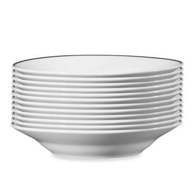 Studio Platinum Porcelain Banded 7-Inch Soup Bowls (Set of 12)