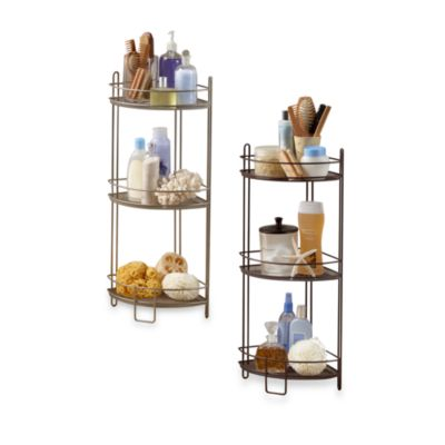 3-Tier Corner Storage Shelf in Satin Nickel