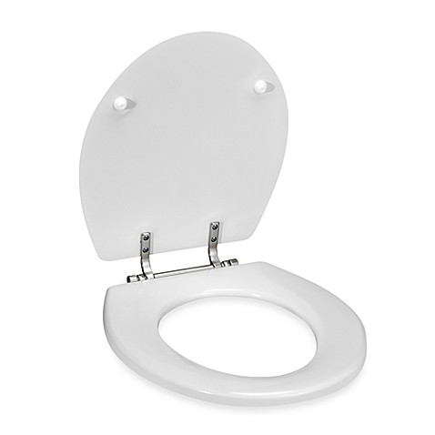 Round Molded Wood Toilet Seat with Nickel Hinge Finish