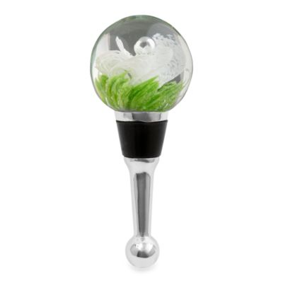 Art Glass Green and White Wine Bottle Stopper