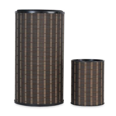1530 Lamont Home Barton Round Hamper and Waste Basket Set in Brown/Black