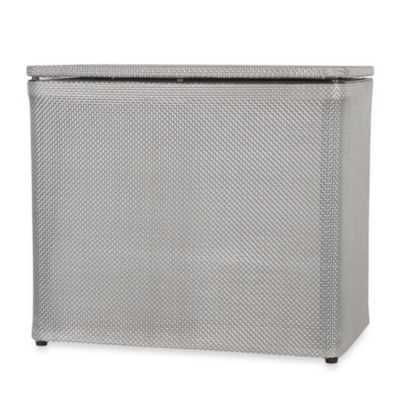 1530 Lamont Home Basketweave Bench Hamper in Silver