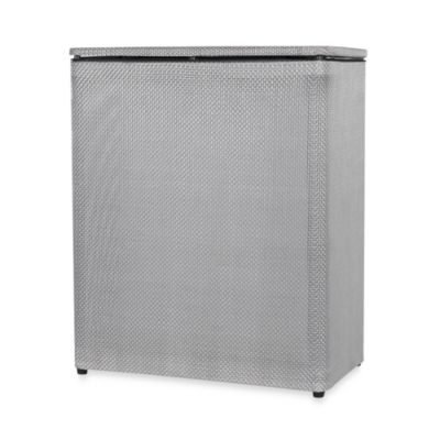 Basketweave Silver Upright Hamper