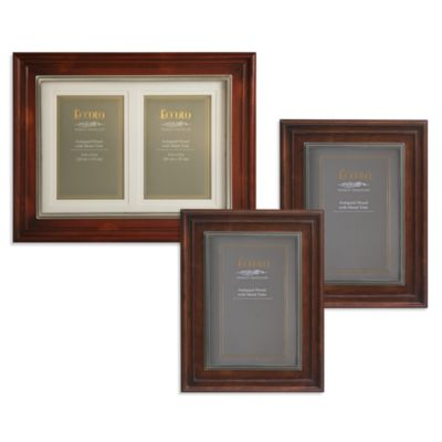 Eccolo™ Brown Double 4-Inch x 6-Inch Photo Frame with Pewter Inlay