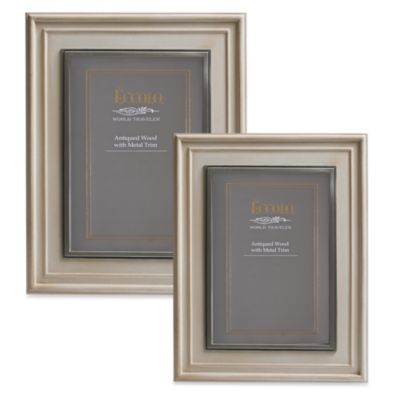 Eccolo™ Weathered Ivory Photo Frame with Pewter Inlay