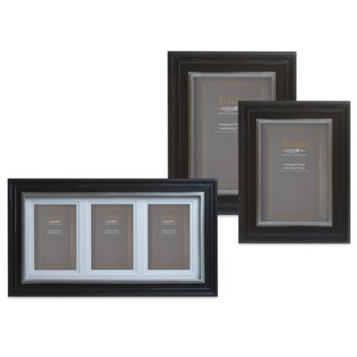 Eccolo™ Weathered Black Triple Photo Frames with Pewter Inlay